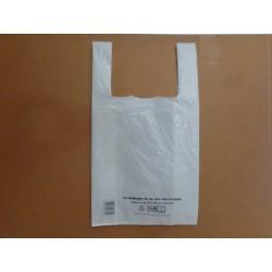sacs plastique en 50µm, dimensions 30+7+7x54cm (colis de 400)  conforme à la loi N°2015-992 du 17 Aout 2015, blanc